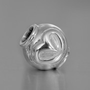 photo of a silver heart bead