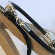 Leather bracelets with silver charms